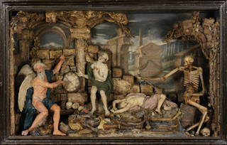 Photo of Time and Death, relief, Caterina de Julianis, before 1727, Italy, coloured and moulded wax. Museum no. A.3-1966. © Victoria and Albert Museum, London