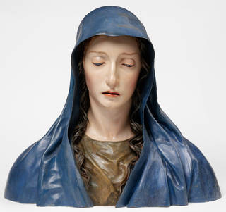 Photo of The Virgin of Sorrows, bust, José de Mora, about 1680–1700, Granada, Spain, painted pinewood. Museum no. 1284-1871. © Victoria and Albert Museum, London