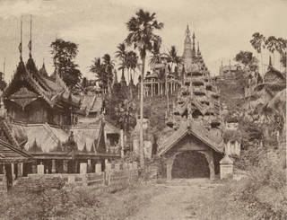 Photo of West Entrance to the Shwe-San-dau pagoda, Prome, photograph by Linneaus Tripe, 1855, Burma. Museum no. 1485-1909. © Victoria and Albert Museum, London