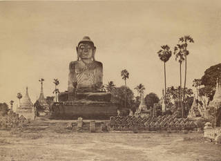 Photo of Colossal Statue of the Gautama close to the N.end of the wooden bridge, photograph by Linneaus Tripe, 1855, Burma. Museum no. 1527-1909. © Victoria and Albert Museum, London