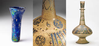 Left to right: beaker, unknown, 1250, possibly Syria. Museum no. C.189-1937. © Victoria and Albert Museum, London. Bottle (with detail), unknown, about 1350, probably Egypt or Syria. Museum no. 328-1900. © Victoria and Albert Museum, London
