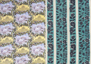 Left to right: Festival of Britain, furnishing fabric, designed by John Barker, manufactured by David Whitehead & Sons Ltd, 1951, UK. Museum no. T.288-1982. © Victoria and Albert Museum, London; Café, furnishing fabric, Jacqueline Groag, 1951, UK. Museum no. CIRC.222A-1951. © Victoria and Albert Museum, London