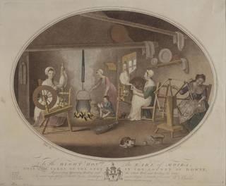 Hand coloured engraving depicting Irish linen making, William Hincks, 1791. Museum no. 28813:6. © Victoria and Albrt Museum, London