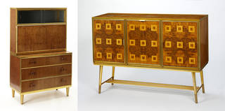 Left to right: desk, developed by A. E. Walsh for The Board of Trade's Utility Furniture Scheme, 1946 – 8, UK. Museum no. W.44:1/1 to 4-1987, W.44:2/1 to 3-1987. © Victoria and Albert Museum, London; Cocktail cabinet, developed by A. E. Walsh for The Board of Trade's Utility Furniture Scheme, 1946 – 8, UK. Museum no. W.43:1 to 3-1987. © Victoria and Albert Museum, London