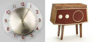 Left to right: wall clock, designed by Christopher Nicholson, manufactured by Ferranti Ltd, 1946, UK. Museum no. W.4-1998. © Victoria and Albert Museum, London; Ferranti model 447, radiogram, designed by Christopher Nicholson, manufactured by Ferranti Ltd, 1946, UK. Museum no. W.3:1 and 2-1998. © Victoria and Albert Museum, London