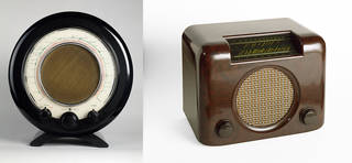 Left to right: EKCO A22, radio, designed by Wells Coates, manufactured by E. K. Cole Ltd, 1946, UK. Museum no. CIRC.13-1977. © Victoria and Albert Museum, London; Bush DAC90, radio, designed by Frank E. Middleditch, manufactured by Bush Radio Ltd, 1946, UK. Museum no. CIRC.288-1976. © Victoria and Albert Museum, London