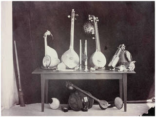 Photo of Musical Instruments Belonging to H. E. photograph by Linnaeus Tripe, 1858, Poodoocottah, India. Museum no. IS.44:3-1889. © Victoria and Albert Museum, London