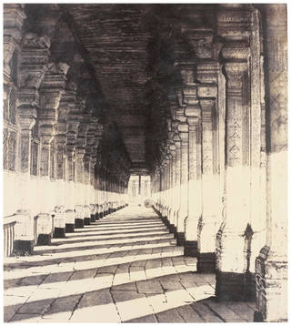 Photo of Aisle on the South Side of the Puthu Mundapum, from the Western Portico, photograph by Linnaeus Tripe, 1858, India. Museum no. IS.39:3-1889. © Victoria and Albert Museum, London