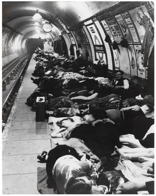 People Sheltering in the Tube, Elephant and Castle Underground Station, photograph by Bill Brandt, 1940. © Bill Brandt Archive Ltd.