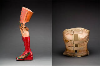 Left: Prosthetic leg with leather boot, 1953 – 4, Mexico. Right: Plaster corset, about 1954, Mexico. Photographs by Javier Hinojosa. Diego Rivera and Frida Kahlo Archives, Banco de México, Fiduciary of the Trust of the Diego Rivera and Frida Kahlo Museums. Museo Frida Kahlo.
