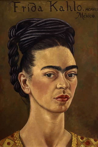 Self-Portrait with Red and Gold Dress, Frida Kahlo, 1941. Courtesy of Gerardo Suter and The Jacques and Natasha Gelman Collection of the 20th Century Mexican Art and the Vergel Foundation. © 2018 Banco de México, Fiduciary of the Trust of the Diego Rivera and Frida Kahlo Museums.