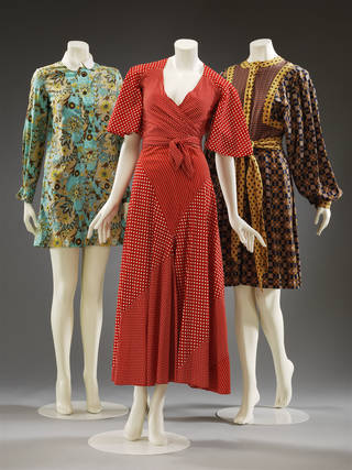 Blue, brown and yellow floral dress, red and white polkadot skirt suit, brown yellow and black dress