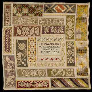 Sampler, Virginia Samtibañes, 1870, Mexico. Bequeathed by Alfred Percival Maudslay. Museum no. T.288-1928. © Victoria and Albert Museum, London