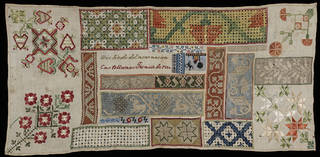 Sampler, Encarnación Castellanos, 1850, Mexico. Bequeathed by A. F. Kendrick. Museum no. T.92-1954. © Victoria and Albert Museum, London