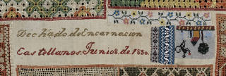 Sampler (detail showing beaded sections), Encarnación Castellanos, 1850, Mexico. Bequeathed by A. F. Kendrick. Museum no. T.92-1954. © Victoria and Albert Museum, London