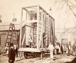View of the construction of the packing case and horse-drawn 'van' for transport of Raphael Cartoons from Hampton Court to South Kensington Museum, Charles Thurston Thompson, 1865. Museum no. 68729. © Victoria and Albert Museum, London