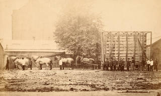 Side view of packing case and horse-drawn 'van' for transport of Raphael Cartoons from Hampton Court to South Kensington Museum, Charles Thurston Thompson, 1865. Museum no. 44413. © Victoria and Albert Museum, London