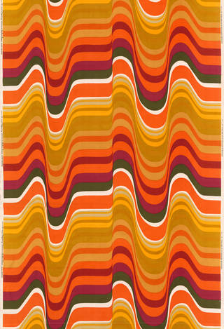 Frequency, furnishing fabric, Barbara Brown for Heal Fabrics Ltd.,1969, UK. Museum no. CIRC.34-1969. © Victoria and Albert Museum, London