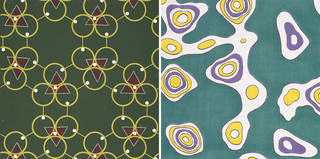 Left: Boric Acid, wallpaper, William J. Odell, 1951, England. Museum no. E.886-1978. © Victoria and Albert Museum, London. Right: Afwillite 8.45, dress fabric, S. M. Slade, 1951, England. Museum no. CIRC.75A-1968. © Victoria and Albert Museum, London.