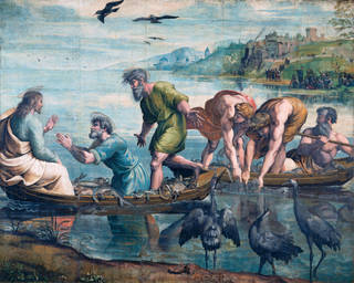 Raphael Cartoon, The Miraculous Draught of Fishes (Luke 5: 1-11), by Raphael, 1515 – 16, Italy. Royal Collection Trust / © Her Majesty Queen Elizabeth II 2020. Photograph: Victoria & Albert Museum, London