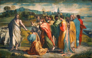 Raphael Cartoon, Christ's Charge to Peter (Matthew 16: 18-19 and John 21: 15-17), by Raphael, 1515 – 16, Italy. Royal Collection Trust / © Her Majesty Queen Elizabeth II 2020. Photograph: Victoria & Albert Museum, London