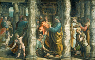 Raphael Cartoon, The Healing of the Lame Man (Acts 3, 1-8), by Raphael, 1515 – 16, Italy. Royal Collection Trust / © Her Majesty Queen Elizabeth II 2020. Photograph: Victoria & Albert Museum, London