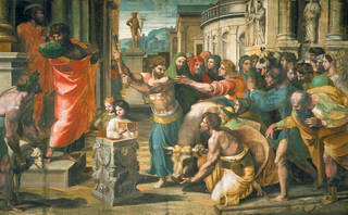 Raphael Cartoon, The Sacrifice at Lystra (Acts 14: 8-18), by Raphael, 1515 – 16, Italy. Royal Collection Trust / © Her Majesty Queen Elizabeth II 2020. Photograph: Victoria & Albert Museum, London