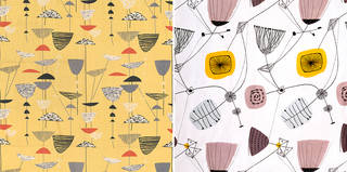 Left: Calyx, furnishing fabric, Lucienne Day, 1951, England. Museum no. T.161-1995. © Robin and Lucienne Day Foundation/Victoria and Albert Museum, London. Right: Perpetua, furnishing fabric, Lucienne Day, 1953, England. Museum no. CIRC.385-1953. © Robin and Lucienne Day Foundation/Victoria and Albert Museum, London.