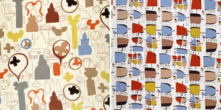 Left: Furnishing fabric, Jacqueline Groag, 1951, England. Museum no. CIRC.282-1951. © Victoria and Albert Museum, London. Right: Furnishing fabric, Jacqueline Groag for David Whitehead, 1952, England. Museum no. CIRC.12 to B-1953. © Victoria and Albert Museum, London