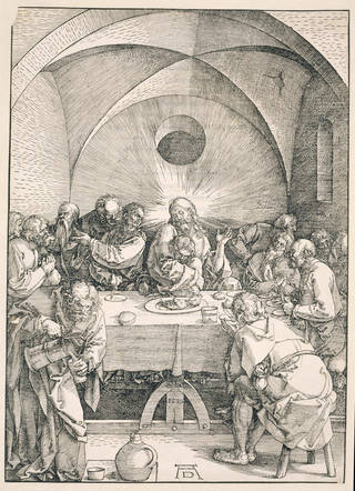 The Last Supper, from the Large Passion series, woodcut on paper, Albrecht Dürer, 1510, Nuremberg. Museum no. E.703-1940. © Victoria and Albert Museum, London