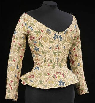Woman's waistcoat embroidered with silk and metal thread and sequins, linen, Britain, 1610–20. Museum no. 1359-1900. © Victoria and Albert Museum, London