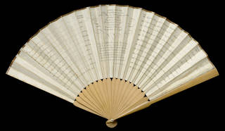 'The Botanick Fan' (back), printed and hand-coloured paper, yew and sycamore, Sarah Ashton, London, 1792. Museum no. T.182-1915. © Victoria and Albert Museum, London