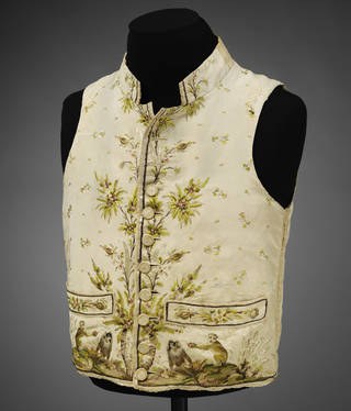 Silk waistcoat embroidered with macaque monkeys copied from the Comte de Buffon's multi-volume Natural History (1749–88), France, 1780–9. Museum no. T.49-1948. © Victoria and Albert Museum, London
