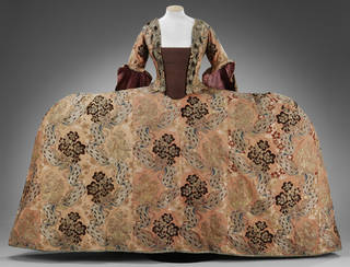 Court dress (mantua), woven silk trimmed with ermine tails, silk woven in France, dress made in Britain, 1760 – 5 with 19th-century alterations. Museum no. T.252&A-1959. © Victoria and Albert Museum, London