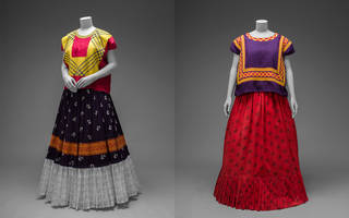 (Left) Cotton huipil with machine-embroidered chain stitch; printed cotton skirt with embroidery and ruffle. (Right) Cotton huipil with chain stitch embroidery; cotton skirt with printed floral motifs. Museo Frida Kahlo. Diego Rivera and Frida Kahlo Archives, Banco de México, Fiduciary of the Trust of the Diego Rivera and Frida Kahlo Museums