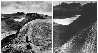 (Left) Hadrian's Wall (full frame), photograph by Bill Brandt, 1943. © Bill Brandt Archive Ltd. (Right) Hadrian's Wall (cropped view), photograph by Bill Brandt, about 1935. © Bill Brandt Archive Ltd.