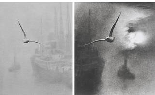 (Left) Early Morning on the River, London Bridge (1), photograph by Bill Brandt, about 1935. © Bill Brandt Archive Ltd. (Right) Early Morning on the River, London Bridge (2), photograph by Bill Brandt, about 1935. © Bill Brandt Archive Ltd.