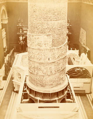 Installation of Trajan's Column, photograph by Isobel Agnes Cowper, about 1873. V&A Archive, MA/32/29, Guardbook negative 9876. © Victoria and Albert Museum, London