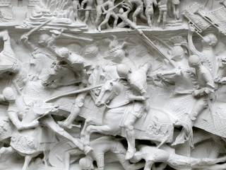 Battle scene, plaster cast, sculpted by Gian Cristoforo Romano, made by Edoardo Pierotti, 1491 – 1497 (sculpted), about 1884 (cast), Italy. Museum no. REPRO.1884-669. © Victoria and Albert Museum, London