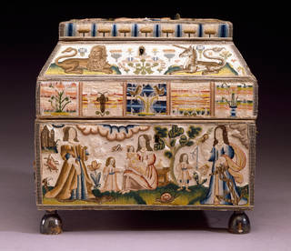 Photo of Embroidered casket, Martha Edlin, 1671, England. Museum no. T.432-1990. © Victoria and Albert Museum, London