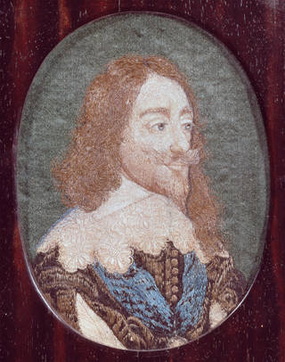 Photo of Portrait of Charles I, maker unknown, embroidered after the etching by Wenceslaus Hollar, 1625 – 50, England. Museum no. T.175-1961. © Victoria and Albert Museum, London