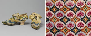 Left to right: Pair of shoes with bargello embroidery, maker unknown, 1730 – 40, England. Museum no. T.64&A-1935. © Victoria and Albert Museum, London; Chair seat with bargello embroidery (detail), maker unknown, 1700 – 50, England. Museum no. T.178-1925. © Victoria and Albert Museum, London