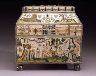 Embroidered casket with raised work, Martha Edlin, 1671, England. Museum no. T.432-1990. © Victoria and Albert Museum, London