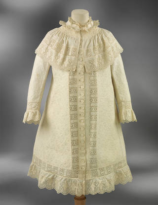 Coat with broderie anglaise embroidery, maker unknown, 1879, England. Museum no. T.162-1962. © Victoria and Albert Museum, London