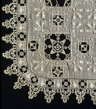 Handkerchief with cutwork (detail), maker unknown, 1600, Italy. Museum no. 288-1906. © Victoria and Albert Museum, London