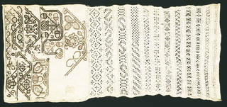 Sampler with pulled thread work, maker unknown, mid-17th century, England. Museum no. T.187-1987. © Victoria and Albert Museum, London