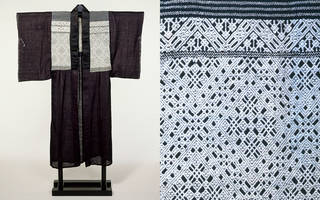 Kimono (with detail showing kogin embroidery work), maker unknown, 1880 – 1920, Japan. Museum no. FE.141-1983. © Victoria and Albert Museum, London