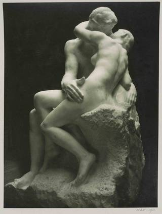 Photograph of The Kiss by Auguste Rodin, unknown photographer. Museum no. 1125-1911. © Victoria and Albert Museum, London