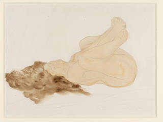 Study of a nude female figure, drawing, Auguste Rodin. Museum no. E.1411-1922. © Victoria and Albert Museum, London