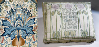 Left to right: Wall hanging with art needlework embroidery (detail), designed by William Morris, made by Mrs Ada Phoebe Godman, 1877 – 1900, England. Museum no. T.166-1978. © Victoria and Albert Museum, London; Needlework embroidered cushion cover, Jessie Newbery, about 1900, Scotland. Museum no. T.69-1953. © Victoria and Albert Museum, London